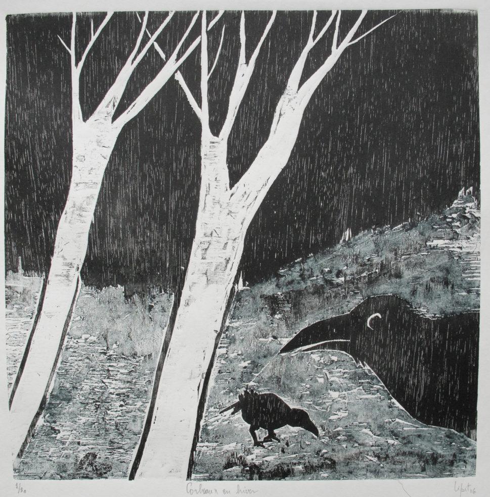 corbeaux la nuit (30x30 cm)