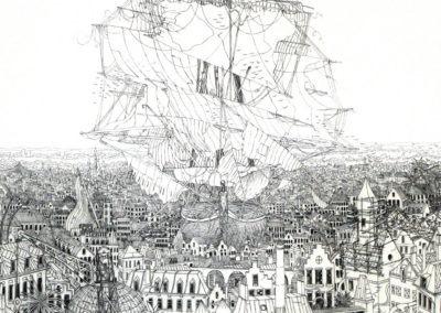 bateau dans la ville ( 38 x 50 cm)