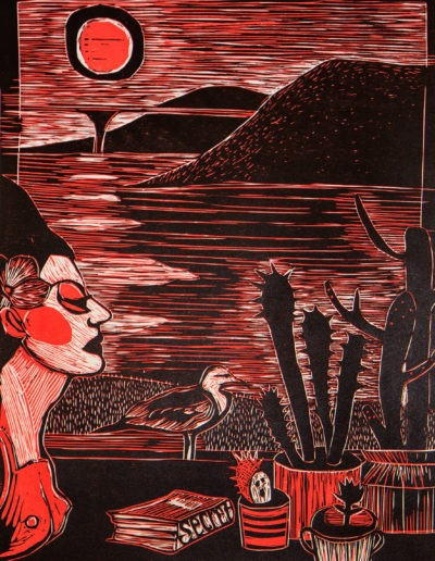 vue sur fenetre cactus 5 ( 37,5 x 50 cm)