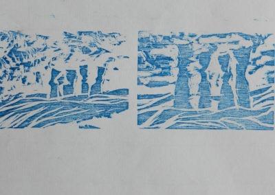 4 xylogravures - 7-10 cm