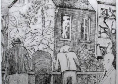 Au balcon (25 x 21,5 cm)
